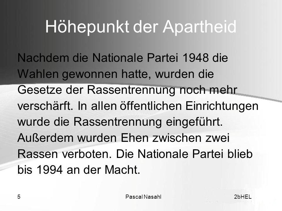 Höhepunkt der Apartheid