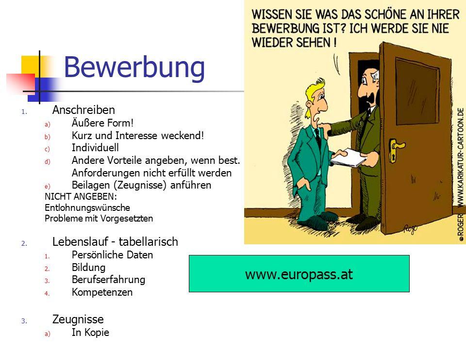 Bewerbung www.europass.at Anschreiben Lebenslauf - tabellarisch
