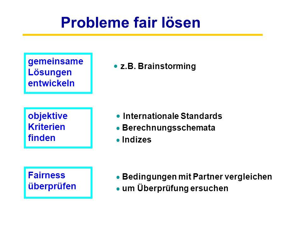Probleme fair lösen gemeinsame Lösungen entwickeln z.B. Brainstorming