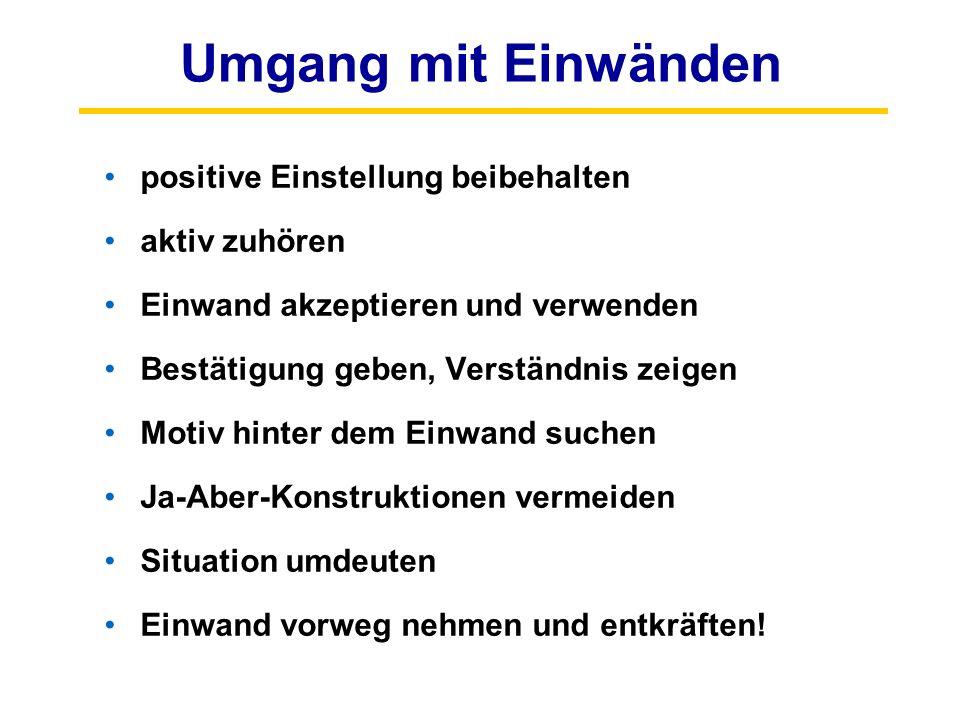 Umgang mit Einwänden positive Einstellung beibehalten aktiv zuhören