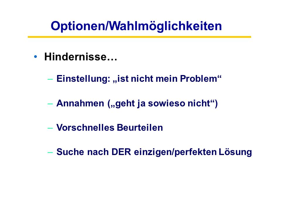 Optionen/Wahlmöglichkeiten