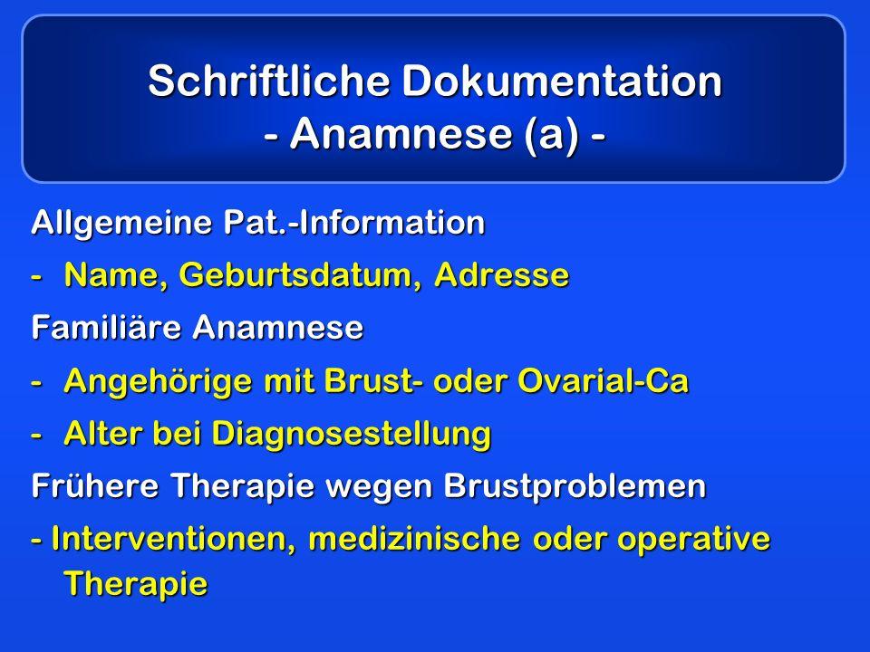 Schriftliche Dokumentation - Anamnese (a) -