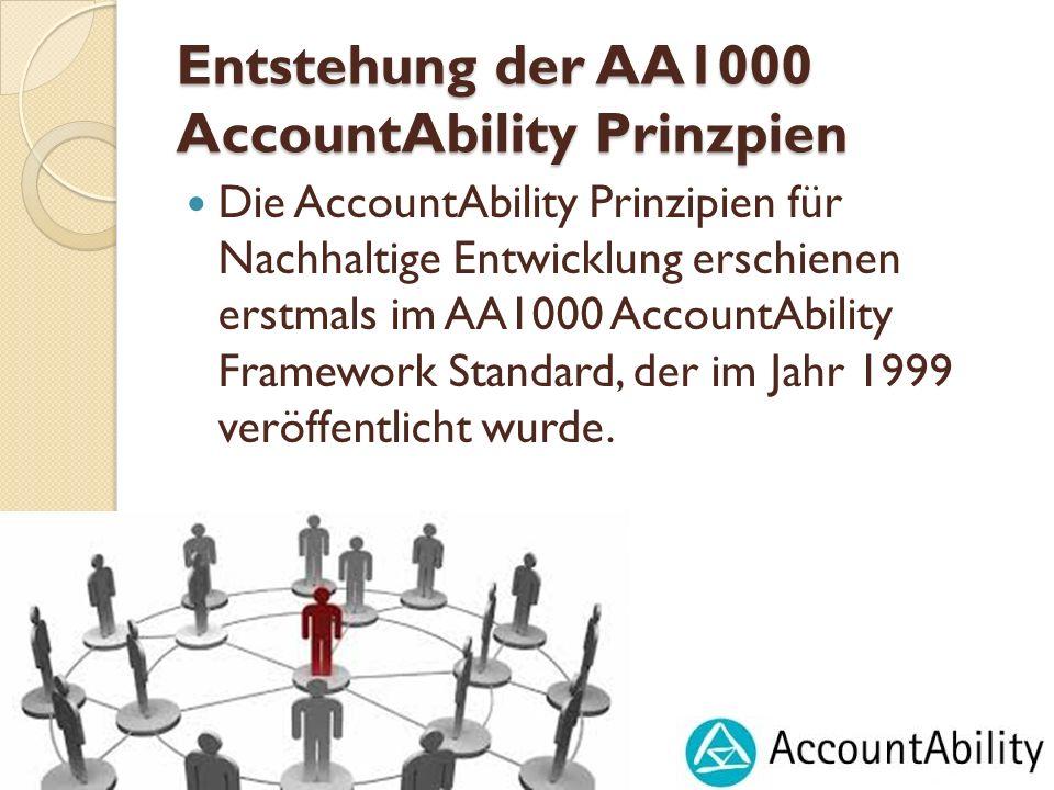 Entstehung der AA1000 AccountAbility Prinzpien