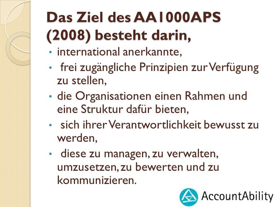 Das Ziel des AA1000APS (2008) besteht darin,