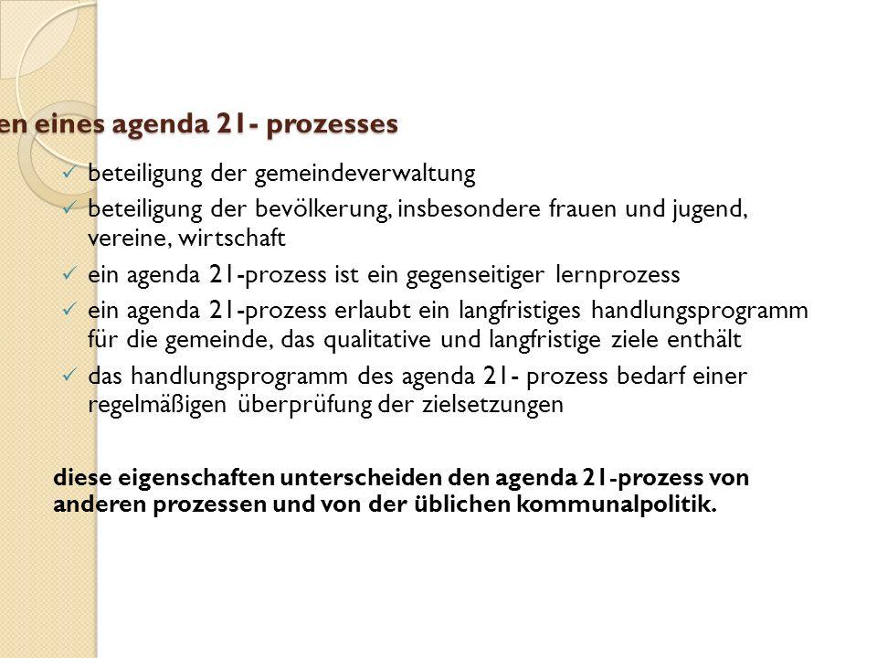 eigenschaften eines agenda 21- prozesses