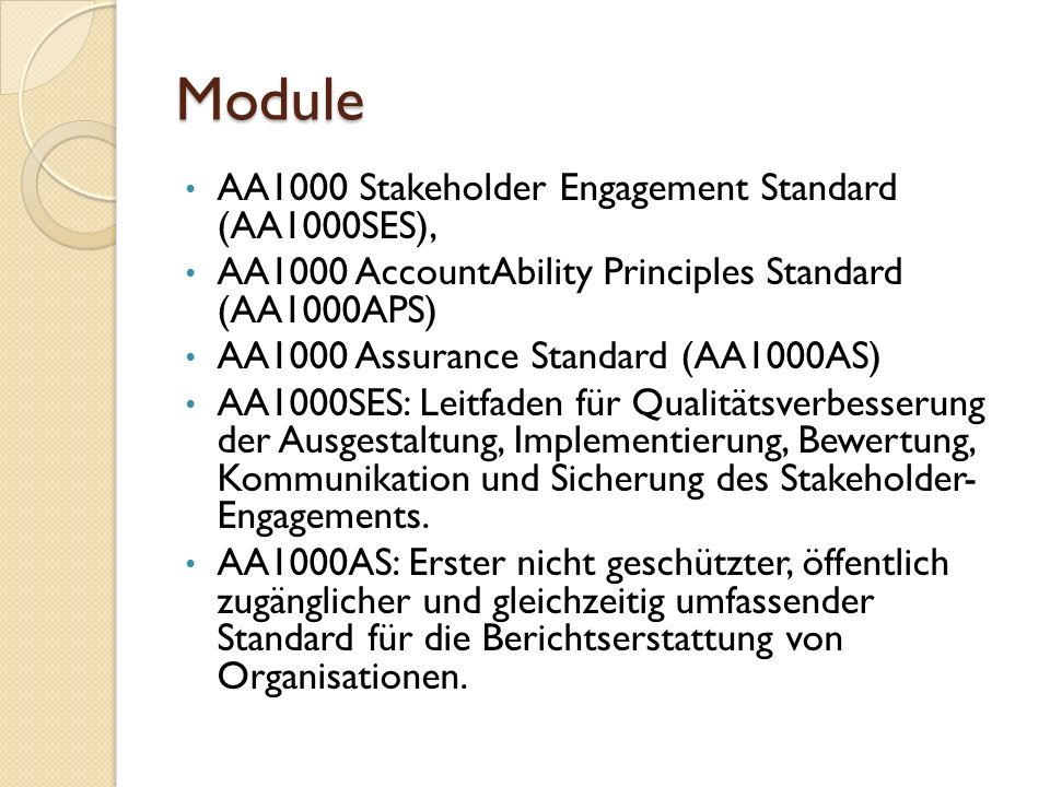 Module AA1000 Stakeholder Engagement Standard (AA1000SES),