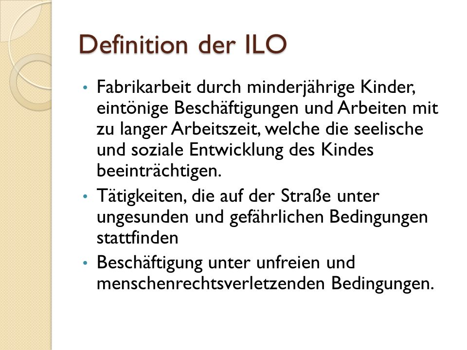 Definition der ILO