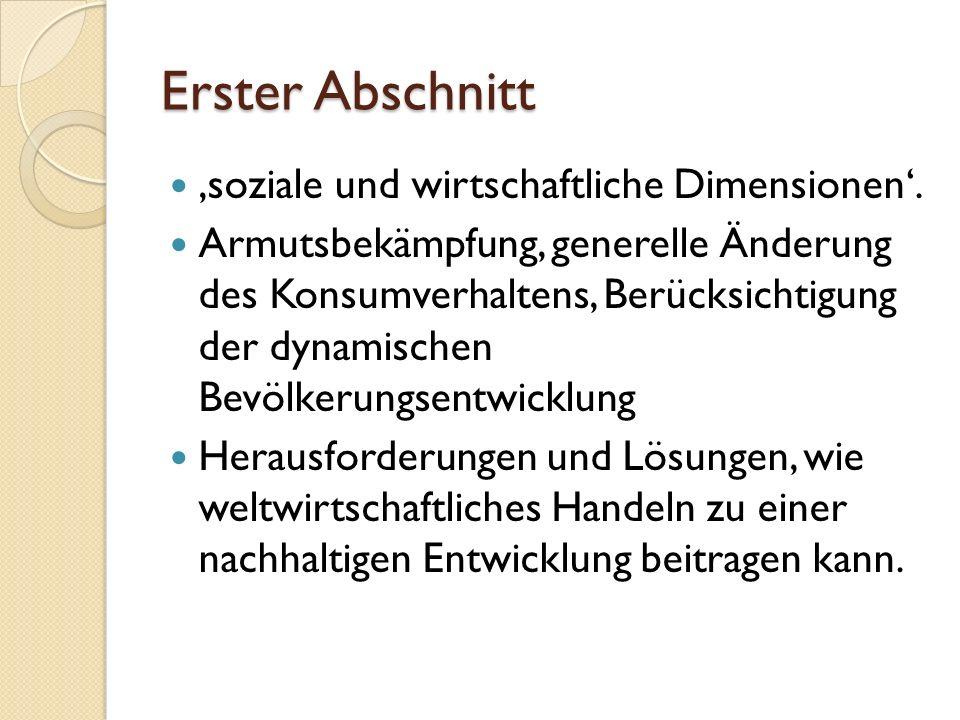 Erster Abschnitt 'soziale und wirtschaftliche Dimensionen'.