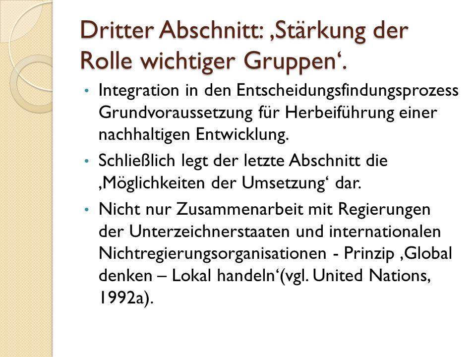 Dritter Abschnitt: 'Stärkung der Rolle wichtiger Gruppen'.