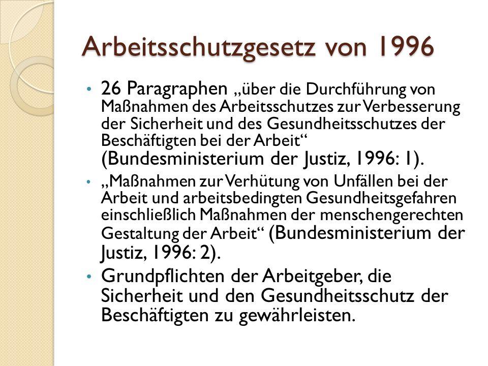 Arbeitsschutzgesetz von 1996