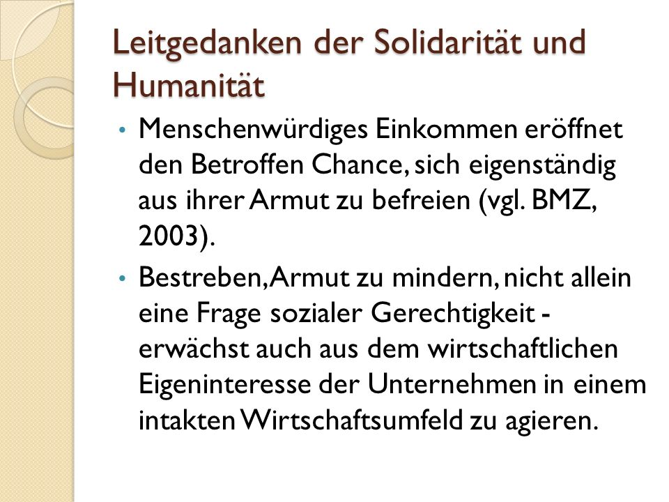 Leitgedanken der Solidarität und Humanität