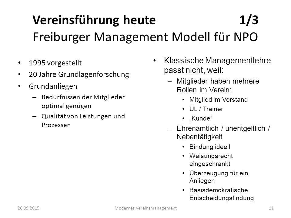 Vereinsführung heute 1/3 Freiburger Management Modell für NPO