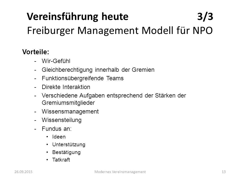 Vereinsführung heute 3/3 Freiburger Management Modell für NPO