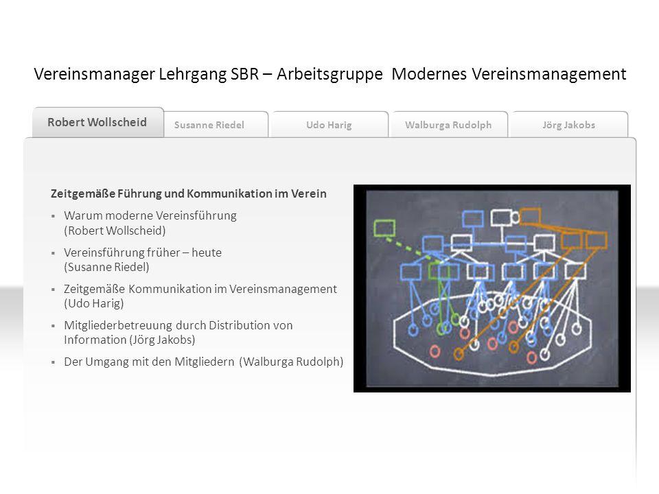 Vereinsmanager Lehrgang SBR – Arbeitsgruppe Modernes Vereinsmanagement