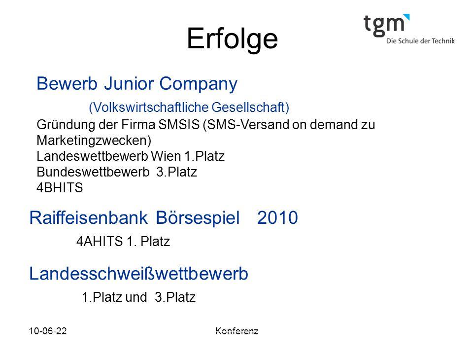 Erfolge Bewerb Junior Company (Volkswirtschaftliche Gesellschaft)