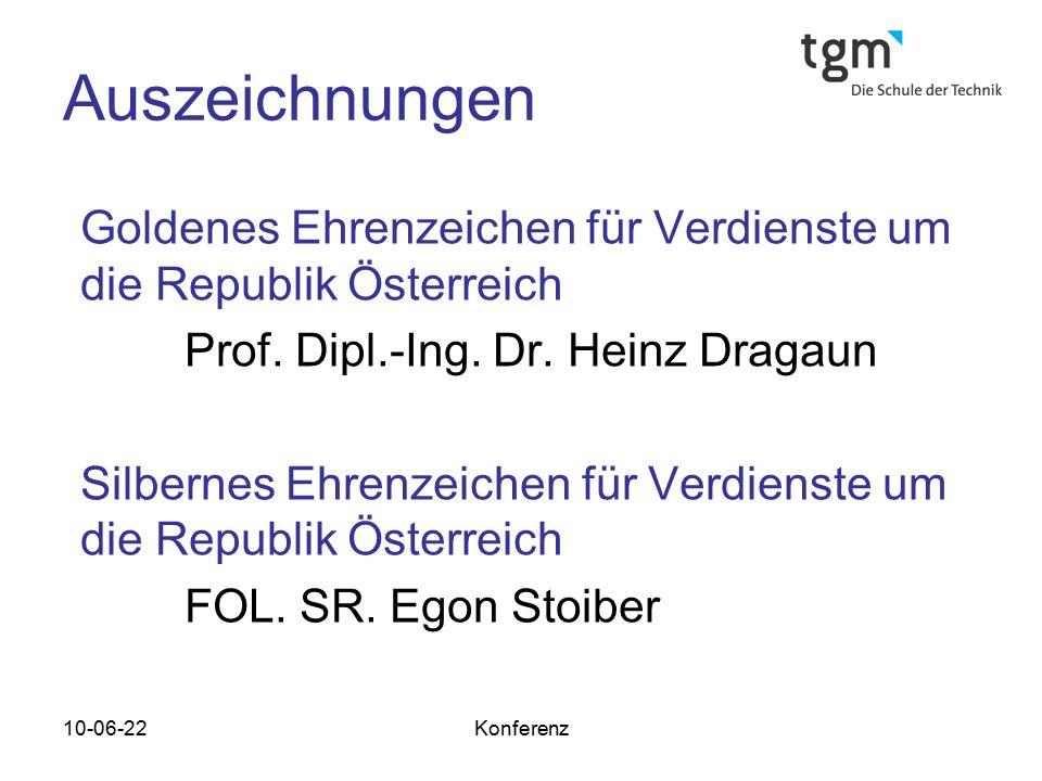 Auszeichnungen Goldenes Ehrenzeichen für Verdienste um die Republik Österreich. Prof. Dipl.-Ing. Dr. Heinz Dragaun.