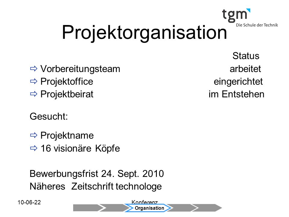 Projektorganisation Status Vorbereitungsteam arbeitet