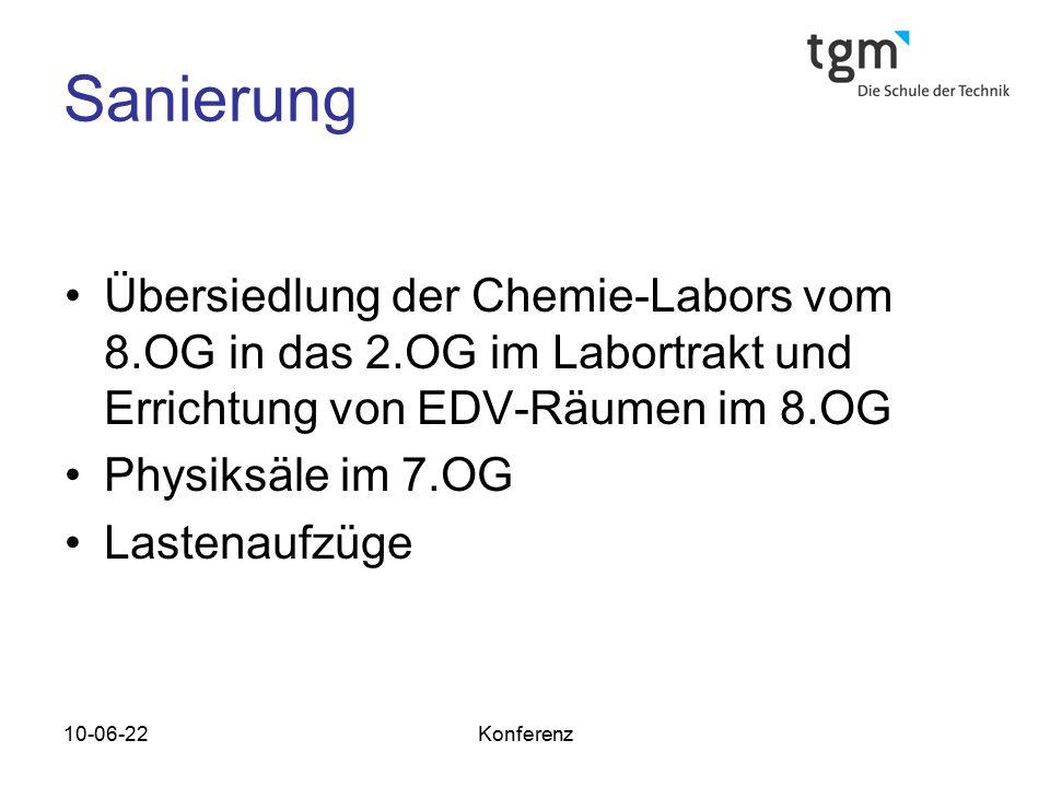 Sanierung Übersiedlung der Chemie-Labors vom 8.OG in das 2.OG im Labortrakt und Errichtung von EDV-Räumen im 8.OG.