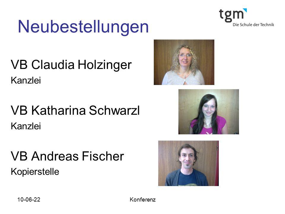 Neubestellungen VB Claudia Holzinger VB Katharina Schwarzl