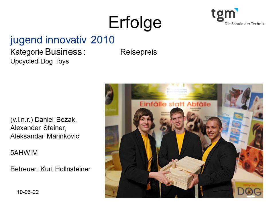 Erfolge jugend innovativ 2010 Kategorie Business : Reisepreis