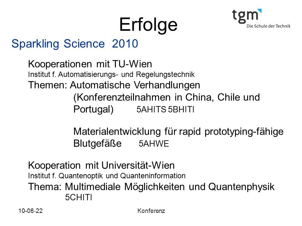 Erfolge Sparkling Science 2010 Kooperationen mit TU-Wien