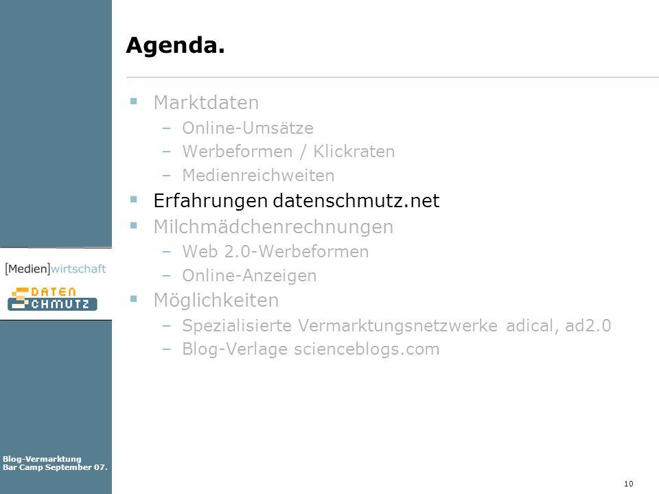 Agenda. Marktdaten Erfahrungen datenschmutz.net Milchmädchenrechnungen