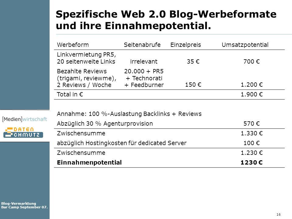 Spezifische Web 2.0 Blog-Werbeformate und ihre Einnahmepotential.