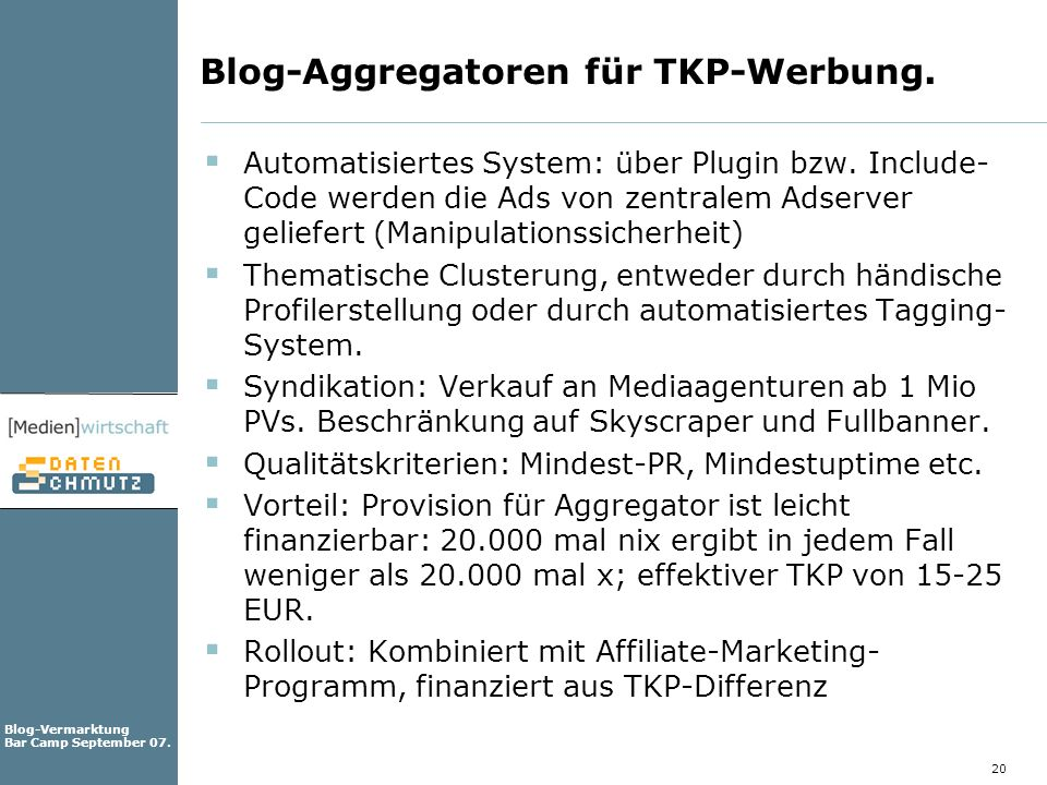 Blog-Aggregatoren für TKP-Werbung.