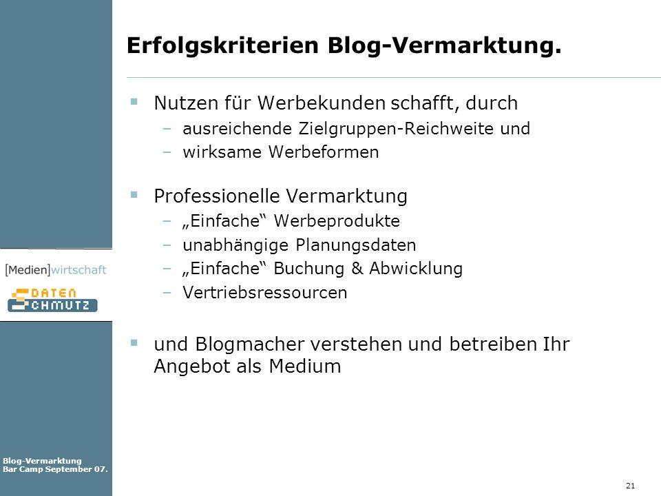 Erfolgskriterien Blog-Vermarktung.