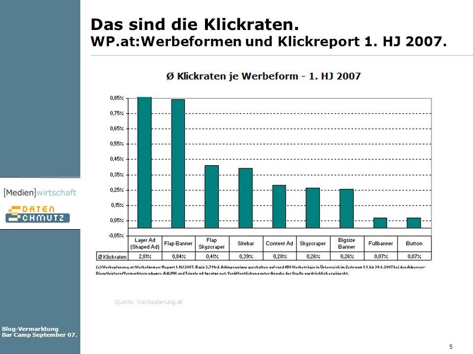 Das sind die Klickraten. WP.at:Werbeformen und Klickreport 1. HJ 2007.