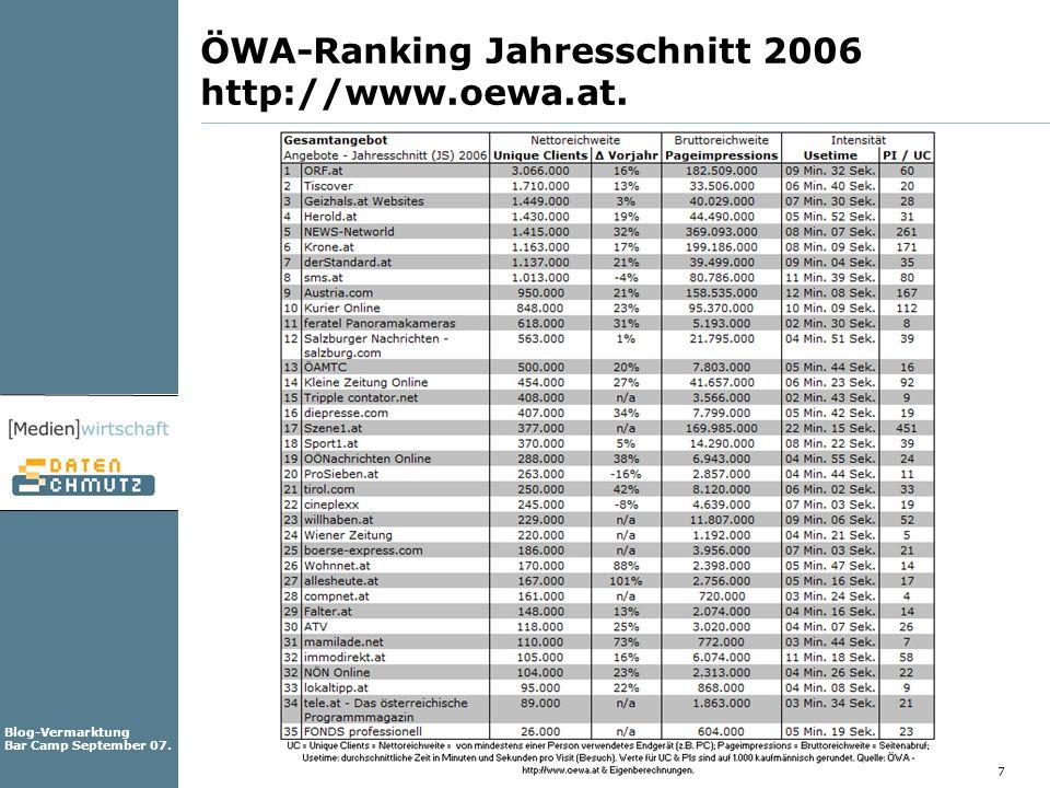 ÖWA-Ranking Jahresschnitt 2006 http://www.oewa.at.