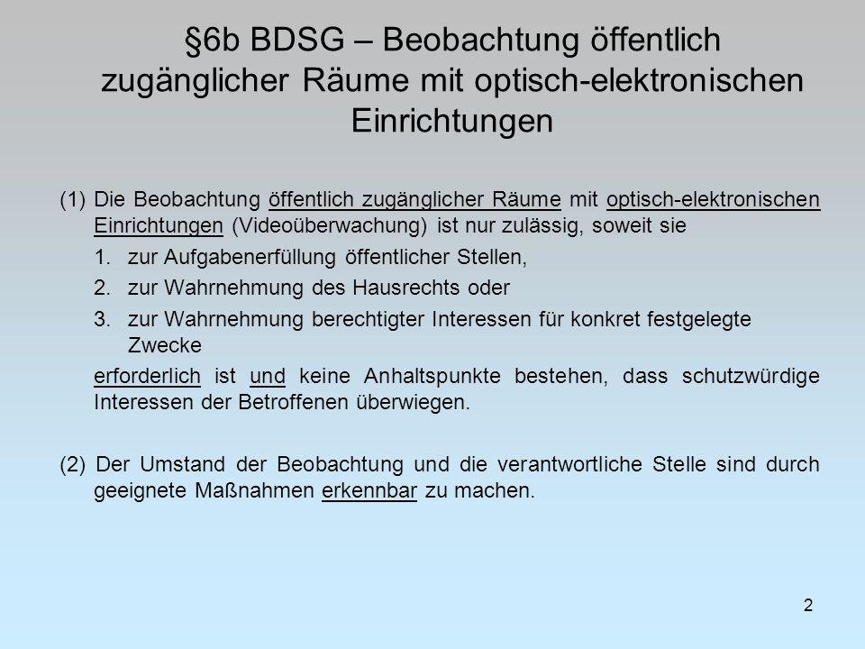 §6b BDSG – Beobachtung öffentlich zugänglicher Räume mit optisch-elektronischen Einrichtungen