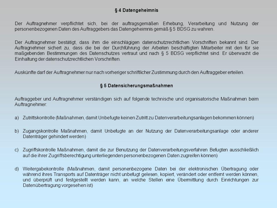 § 5 Datensicherungsmaßnahmen