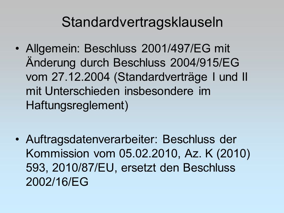 Standardvertragsklauseln