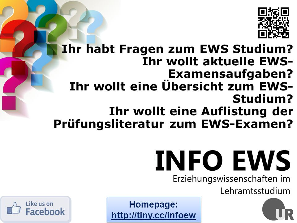 Ihr habt Fragen zum EWS Studium Ihr wollt aktuelle EWS-Examensaufgaben Ihr wollt eine Übersicht zum EWS-Studium Ihr wollt eine Auflistung der Prüfungsliteratur zum EWS-Examen
