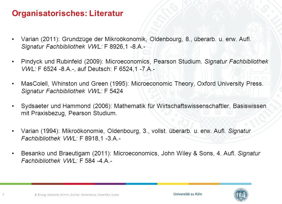 Organisatorisches: Literatur
