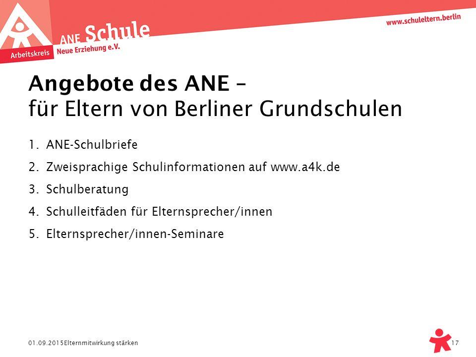 Angebote des ANE – für Eltern von Berliner Grundschulen
