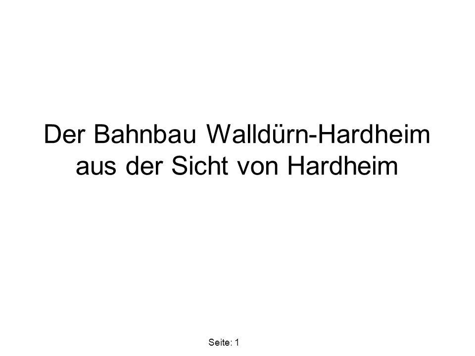 Der Bahnbau Walldürn-Hardheim aus der Sicht von Hardheim