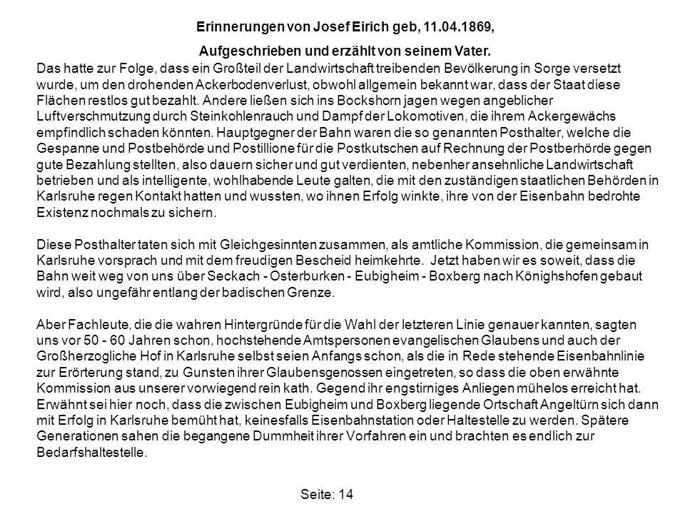 Erinnerungen von Josef Eirich geb, 11.04.1869,