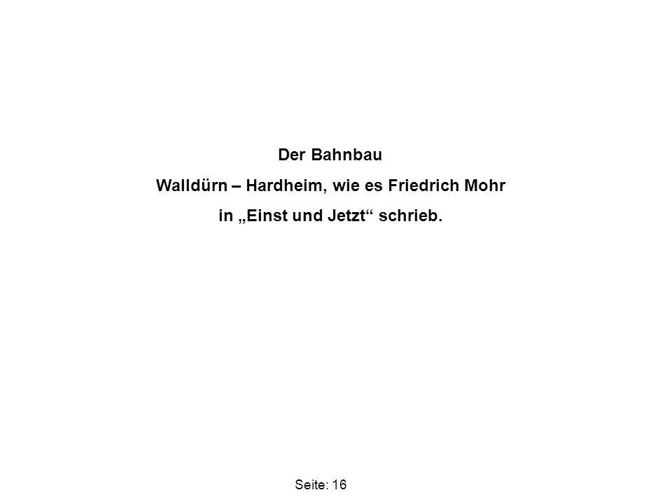 Walldürn – Hardheim, wie es Friedrich Mohr