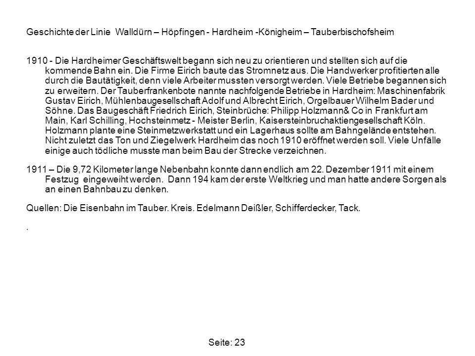 Geschichte der Linie Walldürn – Höpfingen - Hardheim -Königheim – Tauberbischofsheim