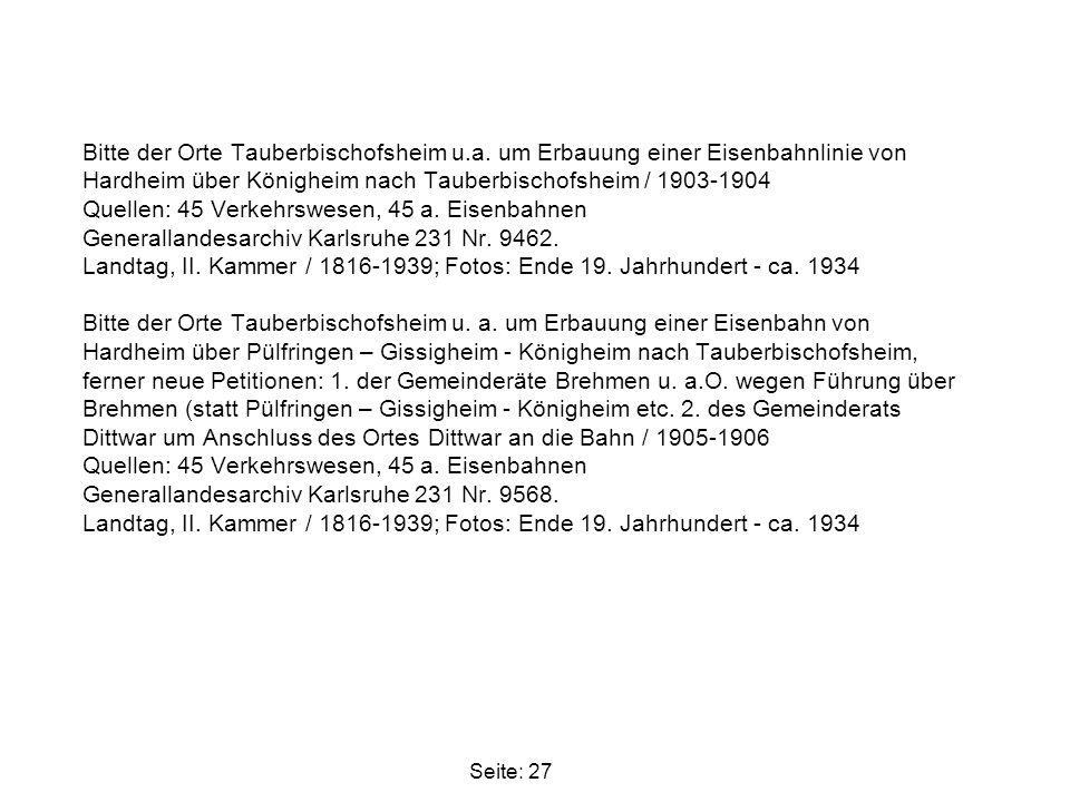 Bitte der Orte Tauberbischofsheim u. a