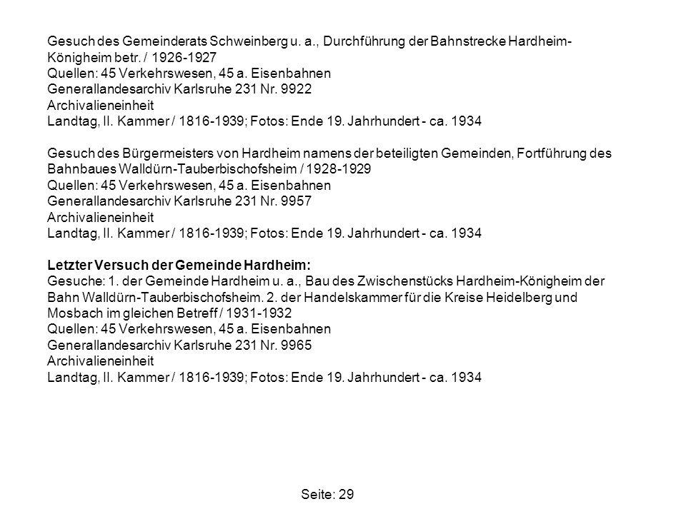 Gesuch des Gemeinderats Schweinberg u. a