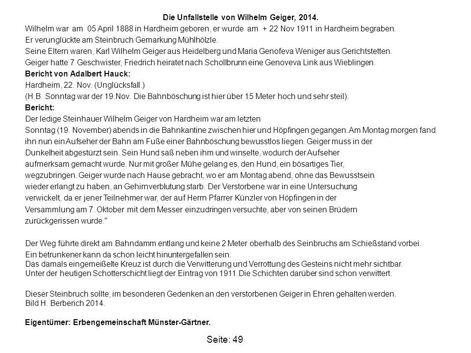 Die Unfallstelle von Wilhelm Geiger, 2014.