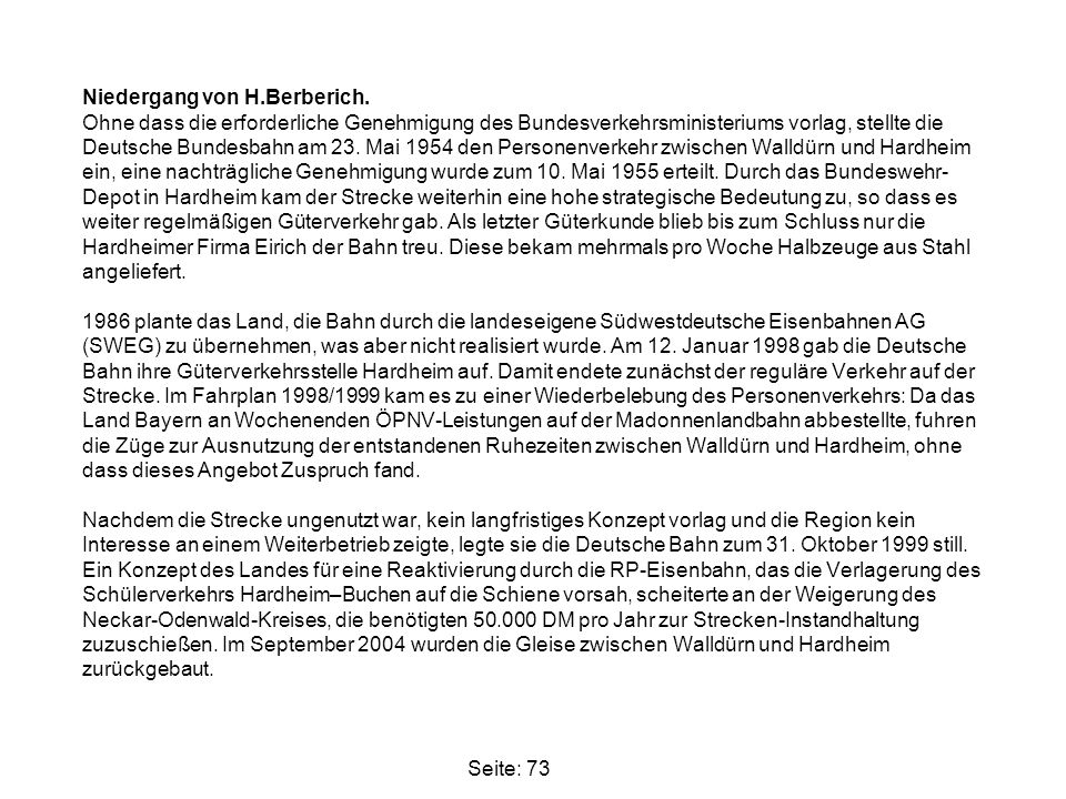 Niedergang von H. Berberich
