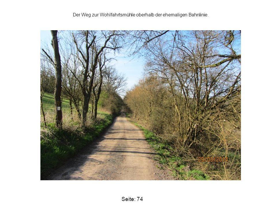 Der Weg zur Wohlfahrtsmühle oberhalb der ehemaligen Bahnlinie.