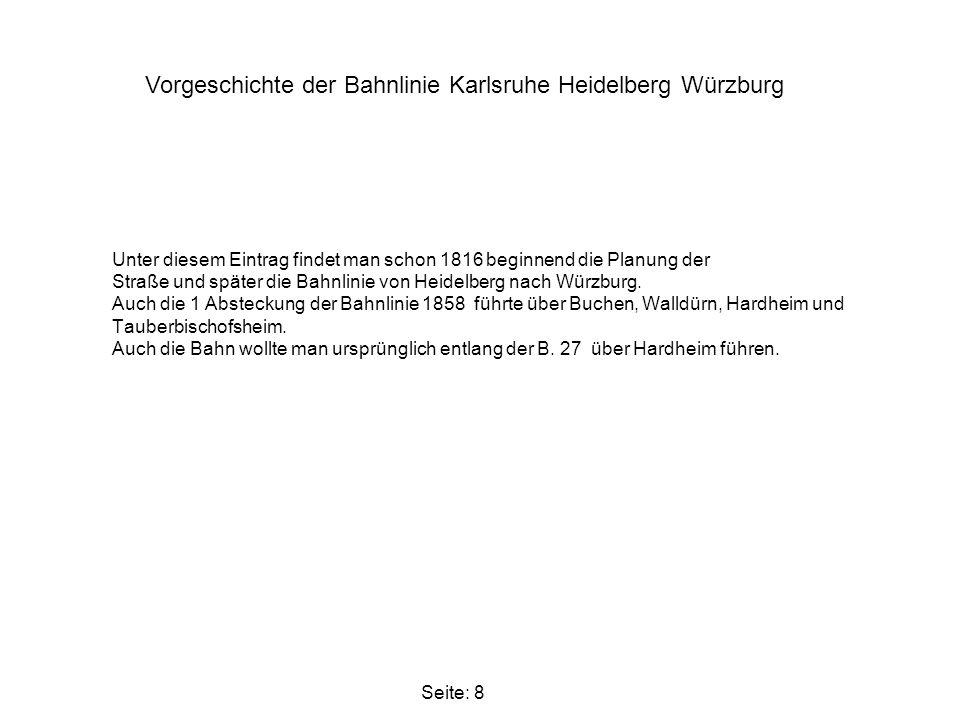 Vorgeschichte der Bahnlinie Karlsruhe Heidelberg Würzburg