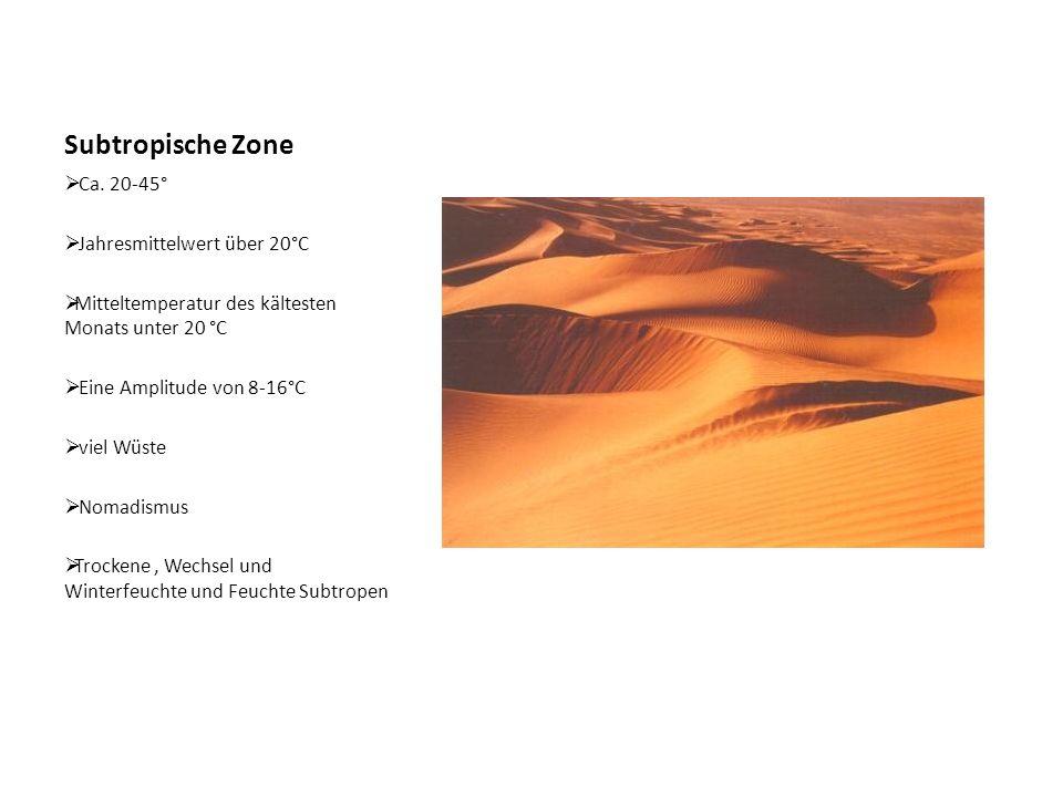 Subtropische Zone Ca. 20-45° Jahresmittelwert über 20°C