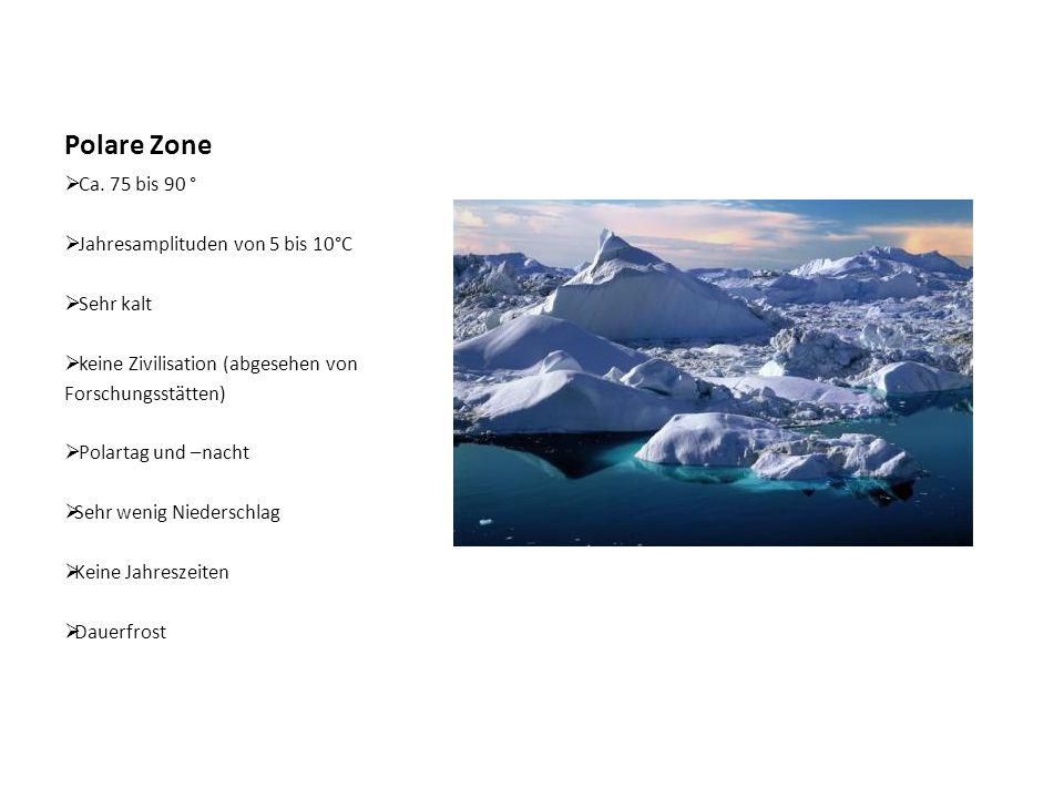 Polare Zone Ca. 75 bis 90 ° Jahresamplituden von 5 bis 10°C Sehr kalt