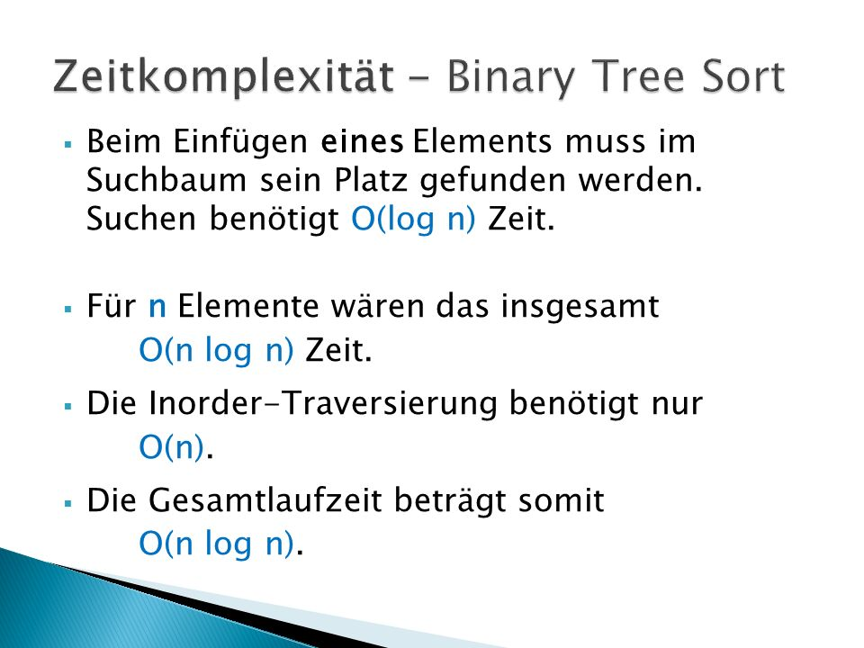 Zeitkomplexität - Binary Tree Sort